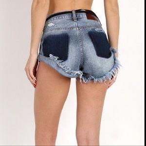 One Teaspoon Distressed Bandits Denim Shorts 25